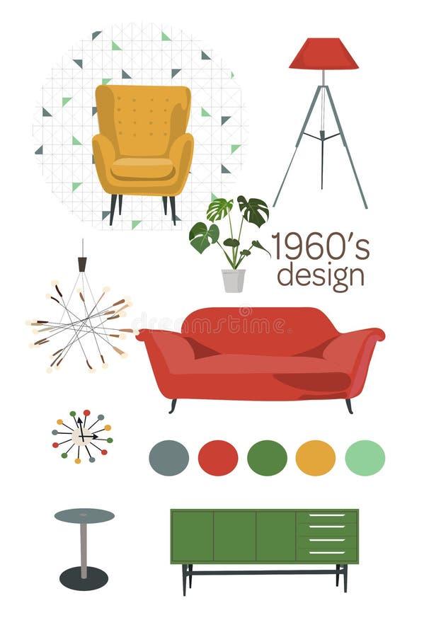 projeto 1960 mobília moderna do século meados de Jogo de elementos do vetor ilustração do vetor