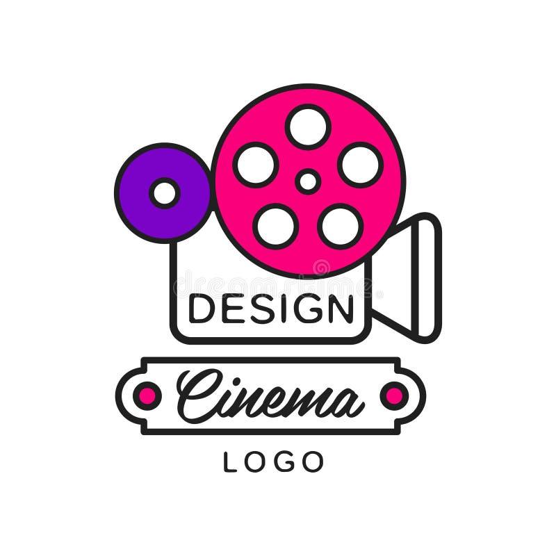 Projeto moderno criativo do molde do logotipo do cinema ou do filme Câmera retro e carretel grande Linha lisa ícone do vetor do e ilustração do vetor
