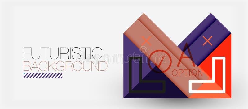 Projeto moderno da bandeira do triângulo de Minimalistic, fundo abstrato geométrico ilustração royalty free