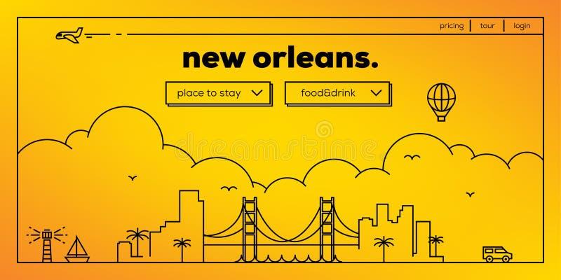 Projeto moderno da bandeira da Web de Nova Orleães com skyline linear do vetor ilustração do vetor