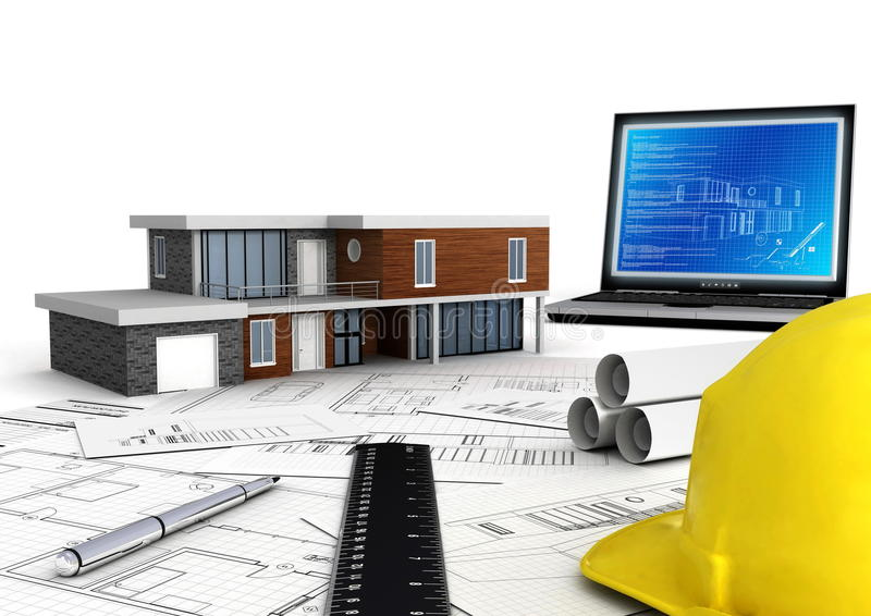 Projeto moderno da casa ilustração stock