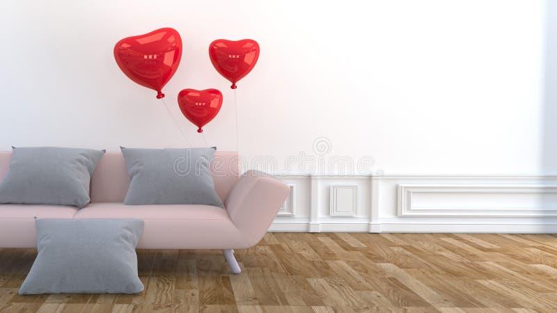 Projeto moderno da sala de visitas - sofá, descanso e balões cor-de-rosa, assoalho de madeira na parede branca vazia rendi??o 3d ilustração royalty free