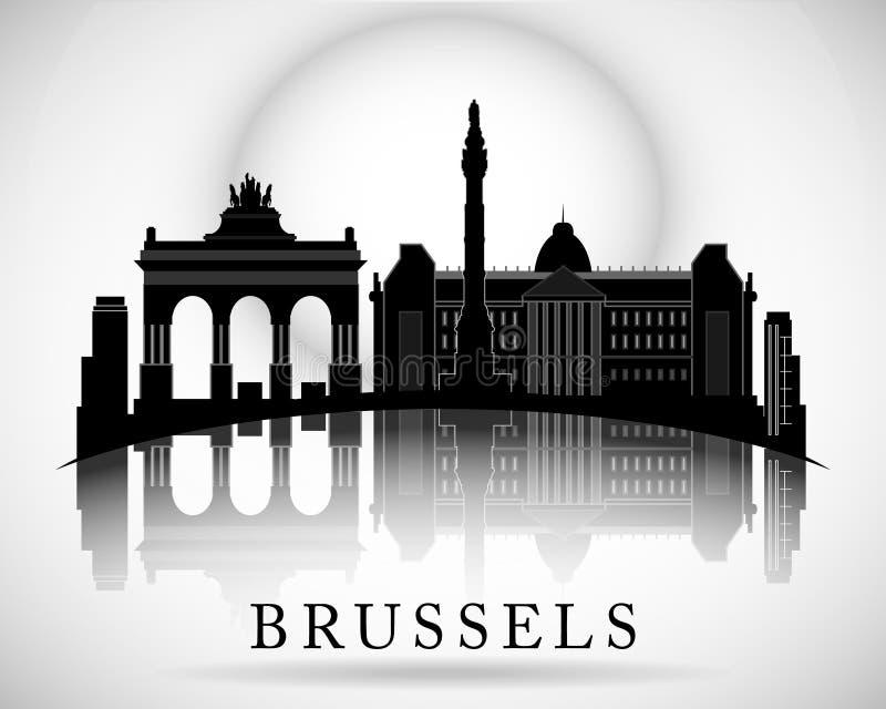 Projeto moderno da skyline da cidade de Bruxelas bélgica ilustração royalty free