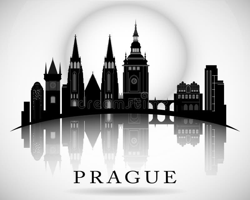 Projeto moderno da skyline da cidade de Praga - República Checa ilustração stock