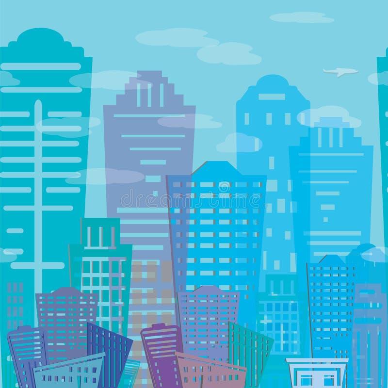 Projeto moderno das construções dos bens imobiliários do teste padrão sem emenda Paisagem urbana r da textura ilustração do vetor