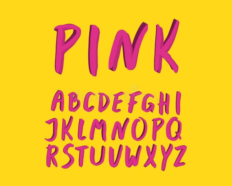 Projeto moderno do alfabeto Fonte da escova da mão, rotulando o estilo Letras inglesas Clipart do caráter tipo, ilustração do vet ilustração do vetor