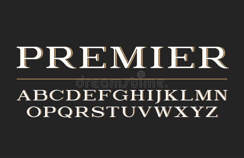 Projeto moderno do caráter tipo do serif Fonte de vetor, letras do alfabeto, tipo ilustração royalty free