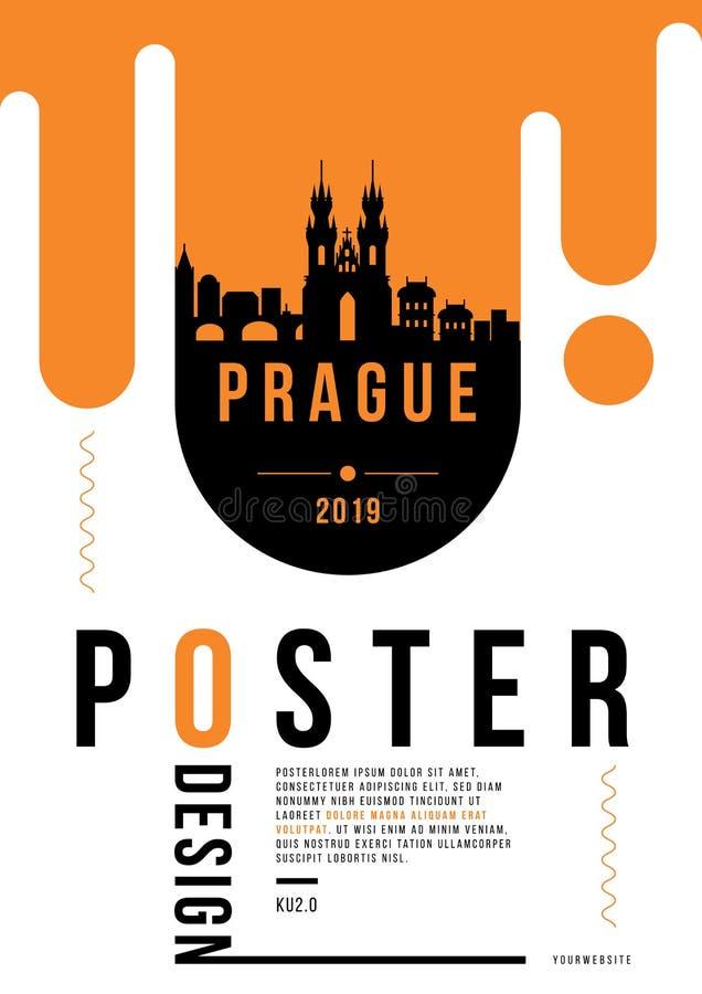Projeto moderno do cartaz de Praga com skyline linear do vetor ilustração royalty free