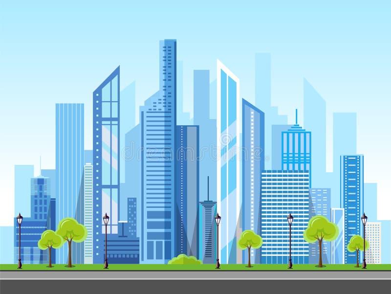 Projeto moderno do estilo liso da paisagem urbana da cidade ilustração stock