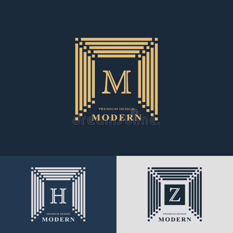 Projeto moderno do logotipo Molde linear geométrico do monograma Emblema M da letra, H, Z Mark da distinção Sinal universal do ne ilustração do vetor