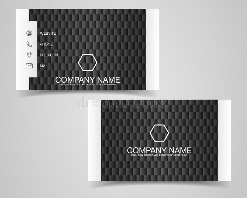 Projeto moderno do molde do cartão Com inspiração do sumário Cartão do contato para a empresa Preto e branco frente e verso Vec ilustração royalty free