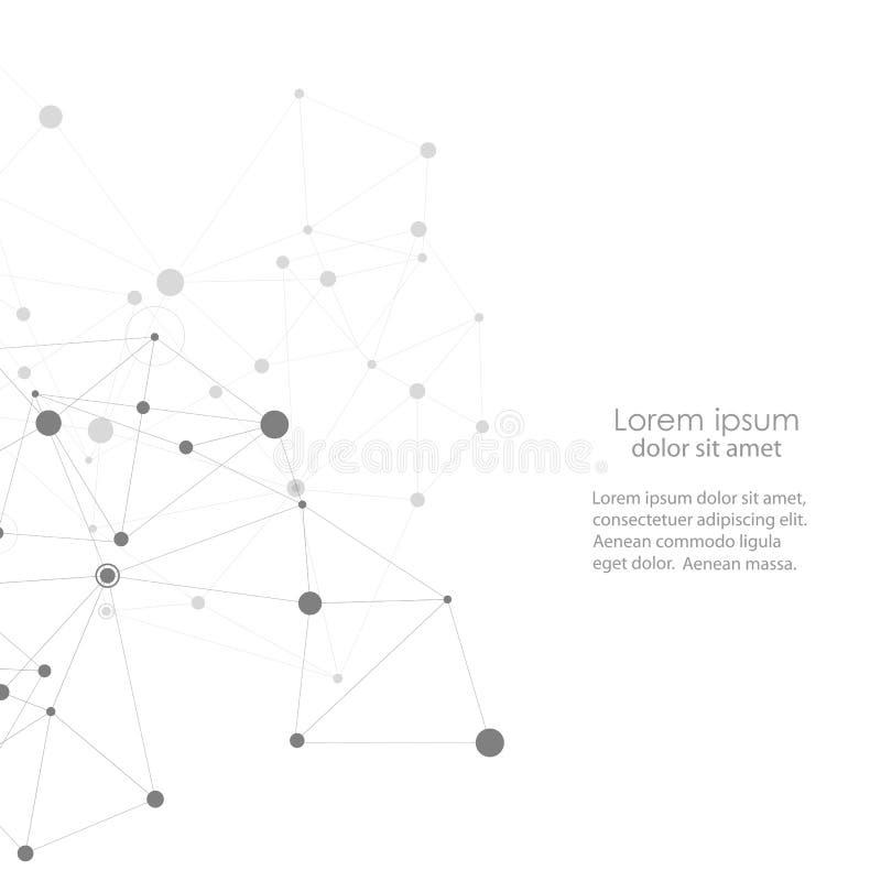 Projeto moderno do vetor com elementos de ligações moleculars ilustração do vetor