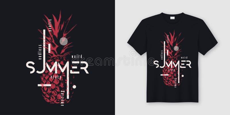 Projeto moderno infinito do t-shirt e do fato do verão com pino denominado ilustração stock