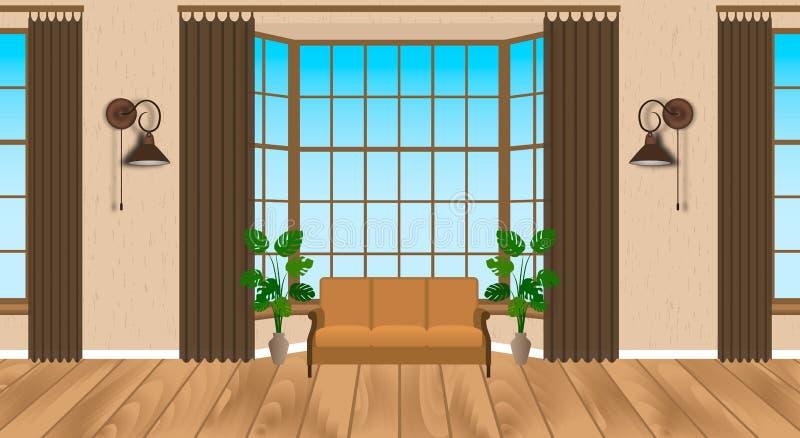 Projeto moderno interior da sala de visitas Sótão claro com revestimento de madeira, sofá, lâmpadas, houseplants ilustração royalty free