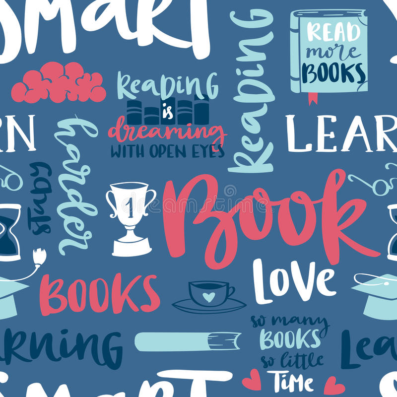 Projeto motivationseamless de leitura do molde da ilustração do vetor do livro do fundo do teste padrão do amor do conceito da im ilustração do vetor
