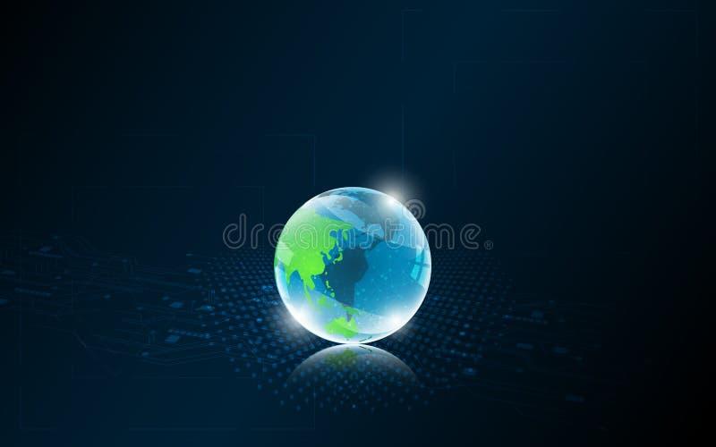 Projeto mundial do fundo do sumário do conceito da tecnologia da inovação dos trabalhos em rede ilustração stock