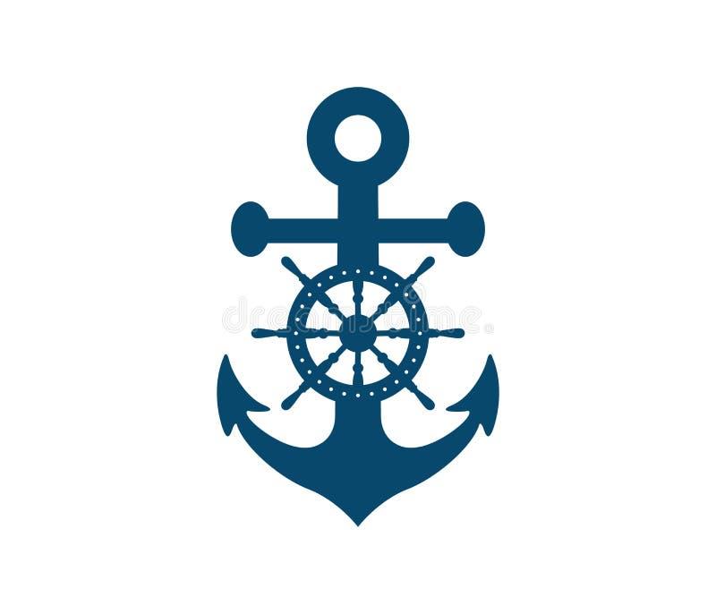Projeto náutico do logotipo do vetor do cruzeiro da marinha ilustração royalty free