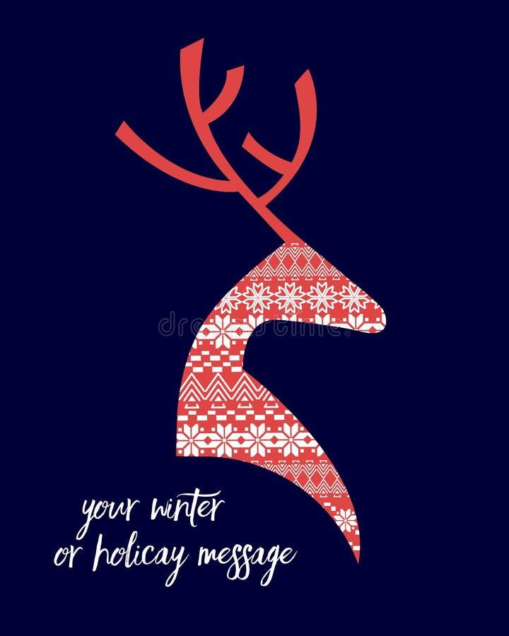 Projeto nórdico do inverno da rena ilustração stock