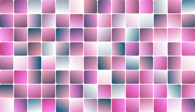 Projeto na moda cor-de-rosa pastel da bandeira do mosaico de Squarel ilustração stock