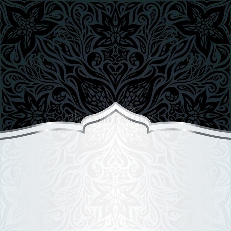 Projeto na moda da mandala da forma do fundo luxuoso floral preto decorativo do papel de parede ilustração royalty free