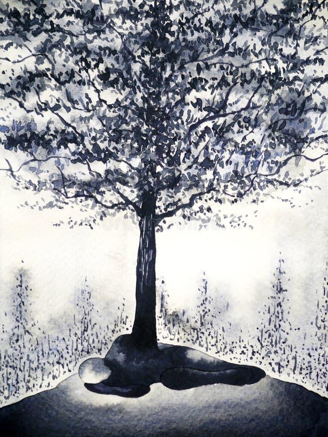Projeto nascido inoperante da ilustração da pintura da aquarela da origem da árvore do preto do homem do sumário ilustração royalty free