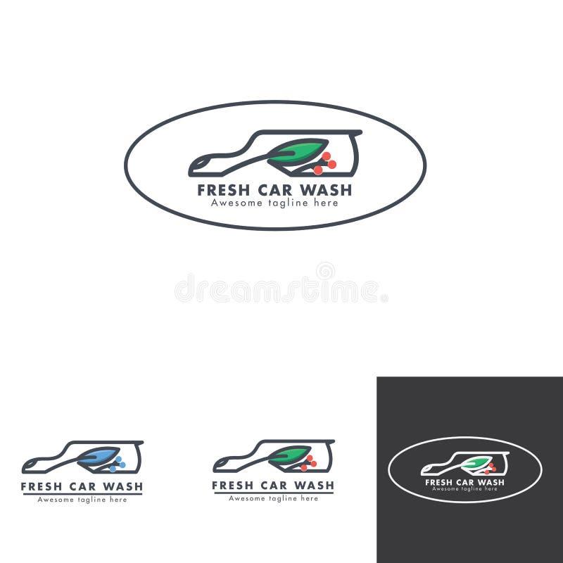 Projeto natural do logotipo do serviço da lavagem de carros ilustração do vetor