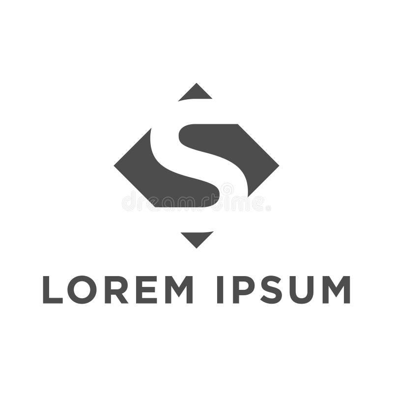 Projeto negativo do logotipo do ícone da letra s do espaço do diamante da ilustração do vetor ilustração stock