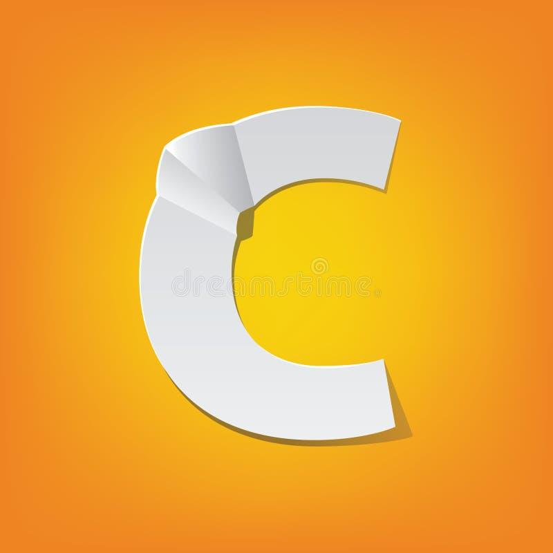Projeto novo do alfabeto inglês da dobra da letra principal de C ilustração stock