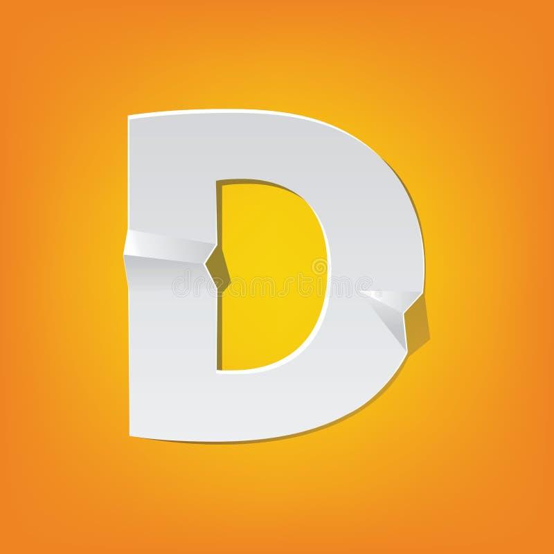Projeto novo do alfabeto inglês da dobra da letra principal de D ilustração royalty free