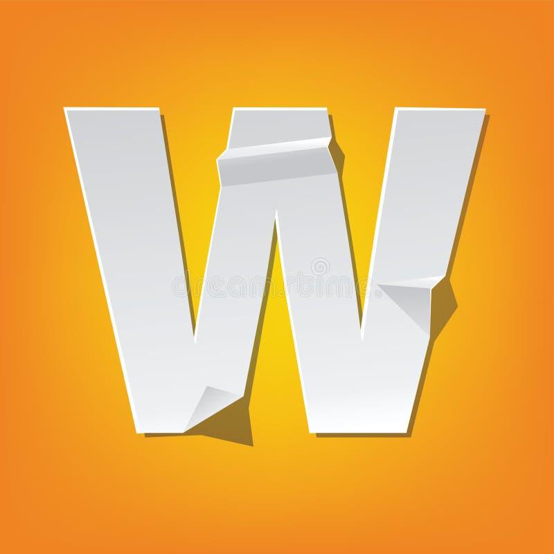 Projeto novo do alfabeto inglês da dobra da letra principal de W ilustração royalty free