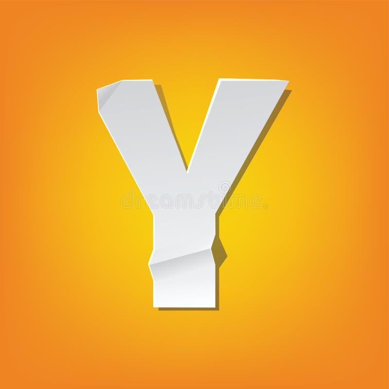 Projeto novo do alfabeto inglês da dobra da letra principal de Y ilustração stock