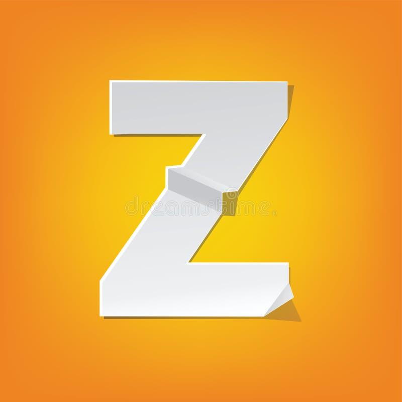 Projeto novo do alfabeto inglês da dobra da letra principal de Z ilustração stock