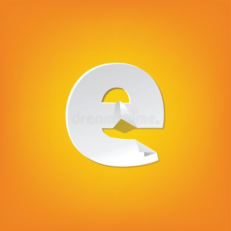 Projeto novo do alfabeto inglês da dobra da letra minúscula de E ilustração royalty free
