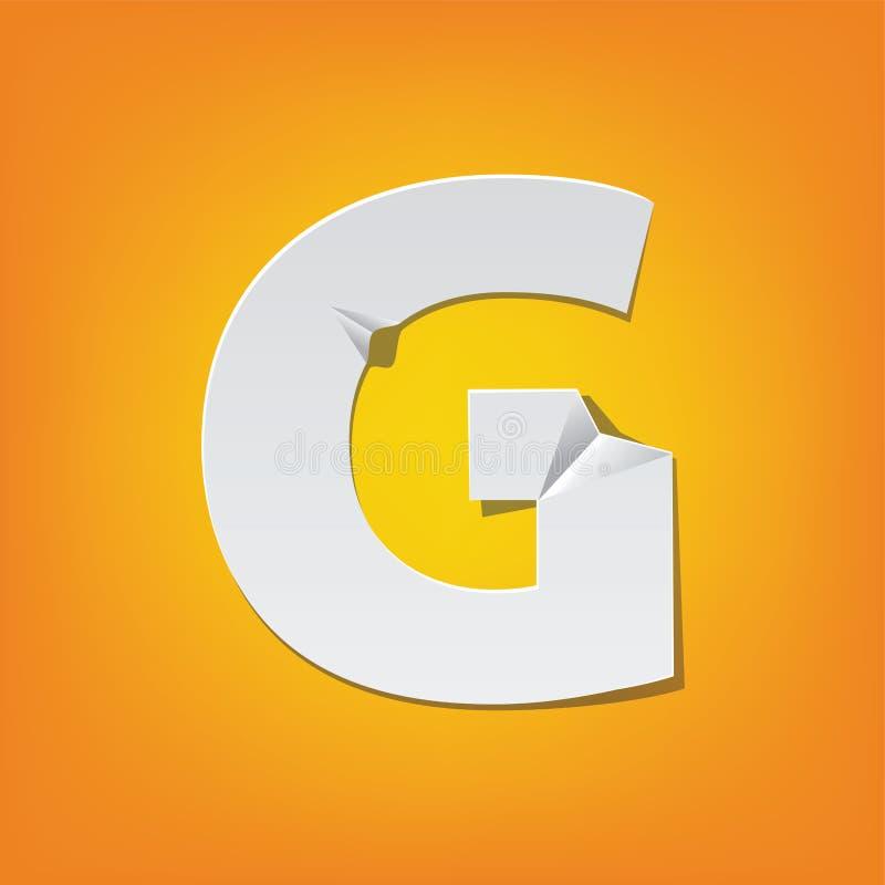 Projeto novo do alfabeto inglês da dobra da letra principal de G ilustração stock