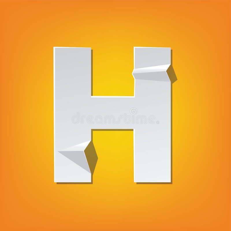 Projeto novo do alfabeto inglês da dobra da letra principal de H ilustração royalty free