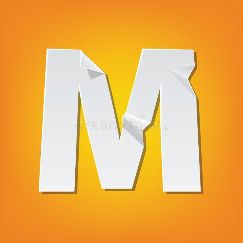 Projeto novo do alfabeto inglês da dobra da letra principal de M ilustração stock