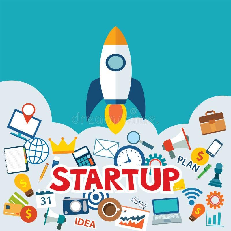 Projeto novo Startup do negócio com projeto liso da imagem do foguete ilustração do vetor