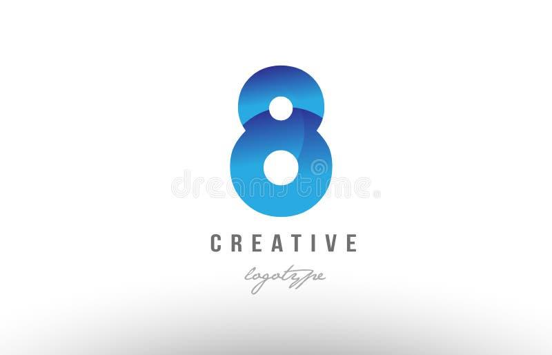 8 projeto numeral do ícone do logotipo do dígito do número do inclinação de oito azuis ilustração do vetor