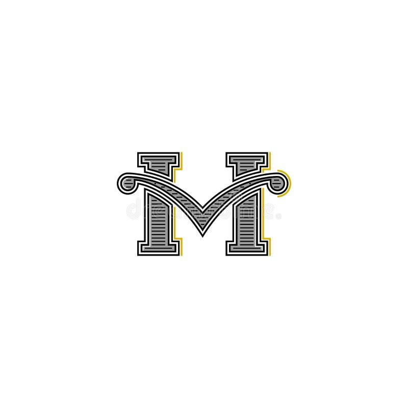 Projeto ocidental do modelo do logotipo da letra M, emblema caligráfico retro do vintage do convite do casamento ilustração do vetor