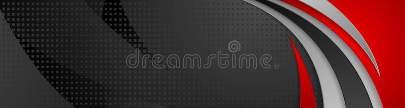 Projeto ondulado abstrato da bandeira da tecnologia preta e vermelha ilustração do vetor