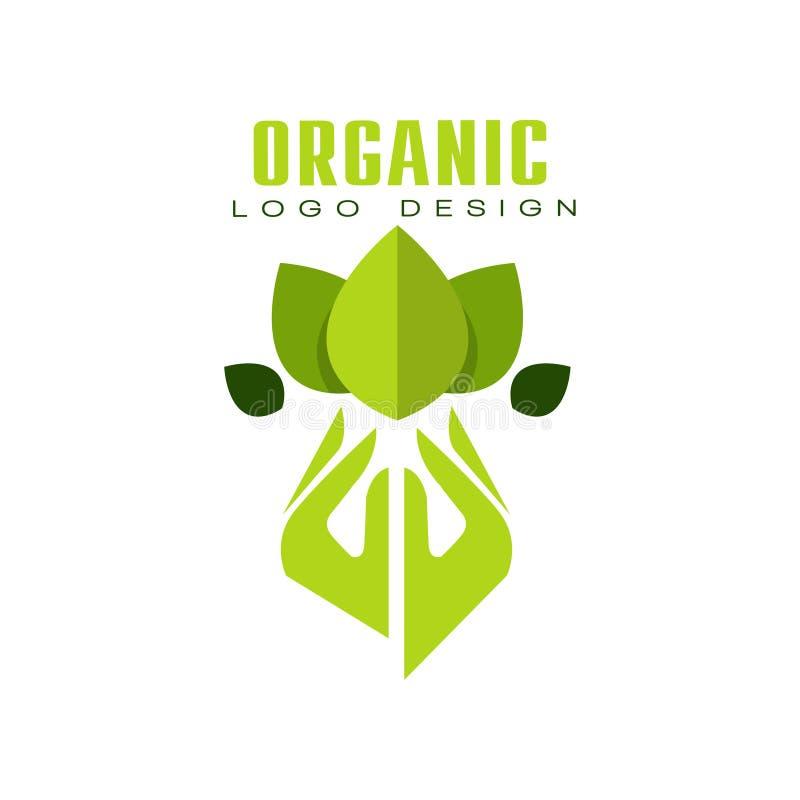 Projeto orgânico do logotipo, etiqueta superior do verde da qualidade do eco, emblema para o café, empacotando, restaurante, veto ilustração royalty free