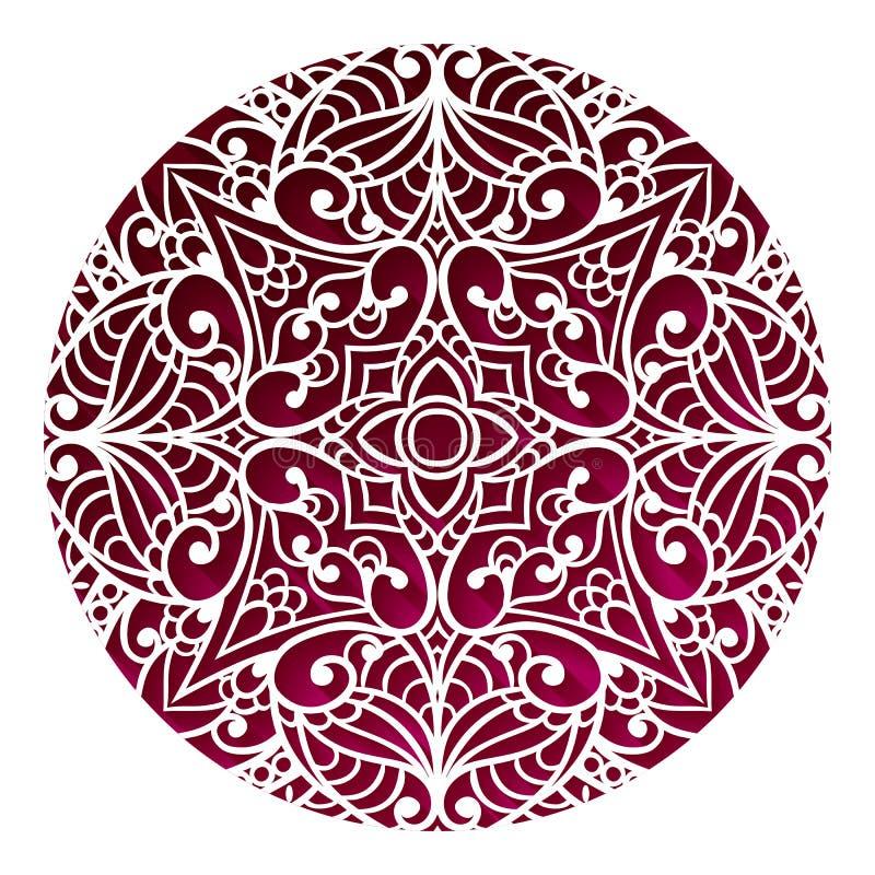 Projeto oriental da mandala Ornamento do vintage Disposição tribal Islã, ilustração stock