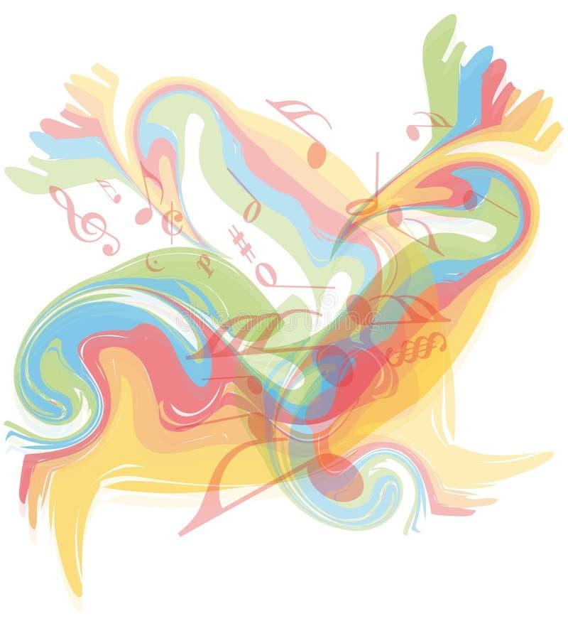 Projeto original abstrato com notas da música ilustração royalty free