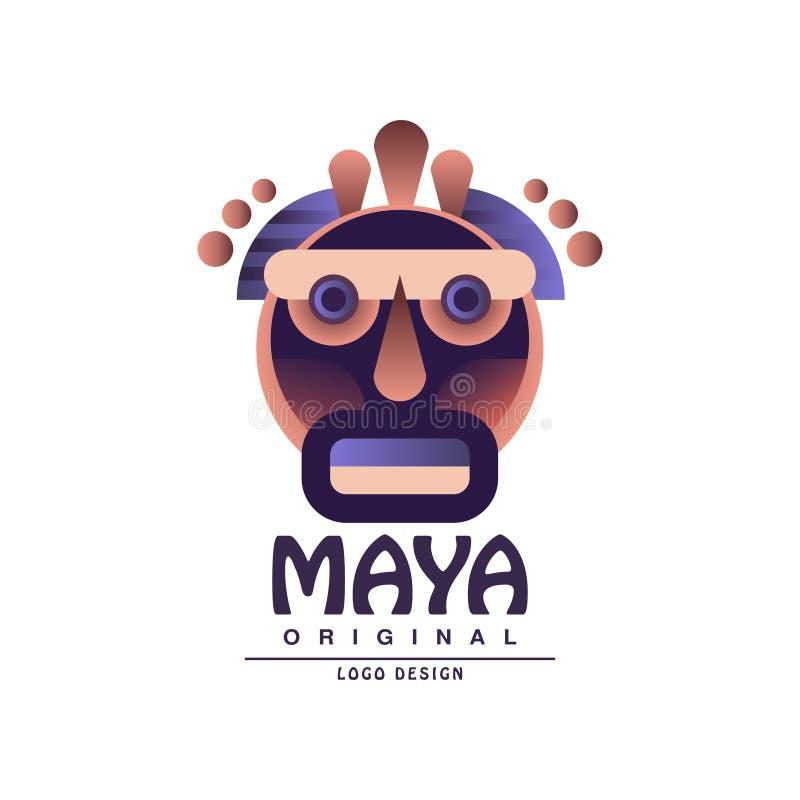 Projeto original do logotipo do Maya, emblema étnico, ilustração asteca do vetor do sinal em um fundo branco ilustração royalty free