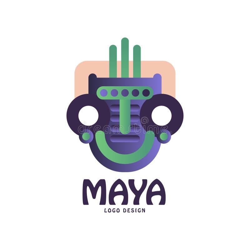 Projeto original do logotipo do Maya, emblema com máscara tribal, ilustração asteca do vetor do sinal em um fundo branco ilustração royalty free