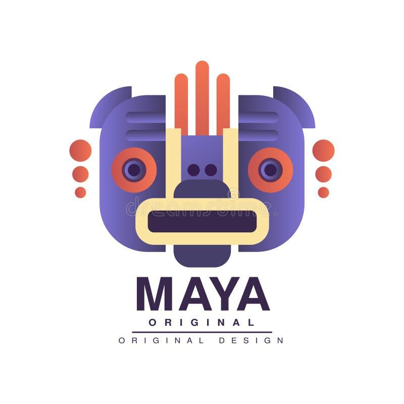 Projeto original do logotipo do Maya, ilustração tribal indiana americana do vetor do sinal em um fundo branco ilustração royalty free