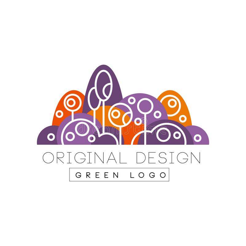 Projeto original do logotipo verde, floresta, parque do eco ou emblema colorido do jardim da cidade na ilustração linear do vetor ilustração royalty free