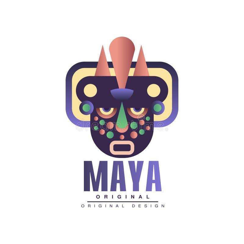 Projeto original do Maya, emblema com ilustração étnica do vetor da máscara do sinal tribal indiano americano em um fundo branco ilustração royalty free