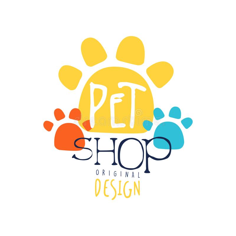 Projeto original do molde do logotipo da loja de animais de estimação, crachá colorido ilustração royalty free