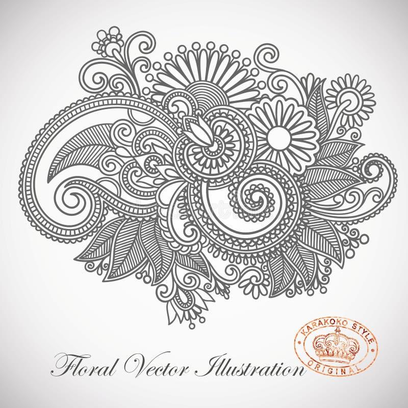 Projeto ornamentado da flor ilustração stock